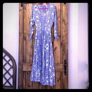 Blue Floral Button Up Maxi Dress
